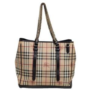 Burberry Brown/Beige Coated Canvas And Leather Haymarket Check Tote