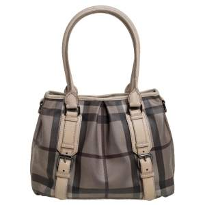Burberry Beige Smoke Check PVC and Leather Northfield Tote