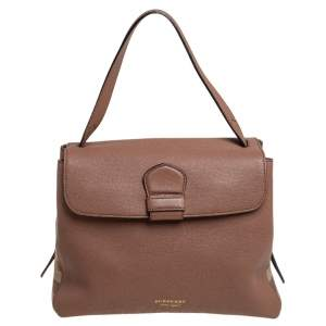 Burberry Brown Leather and House Check Fabric Medium Camberley Top Handle Bag