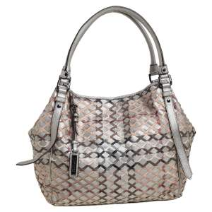Burberry Silver/Beige Woven Coated Canvas and Leather Large Canterbury Tote