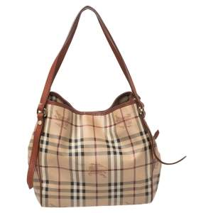 Burberry Brown/Beige Haymarket Check Coated Canvas and Leather Small Canterbury Tote