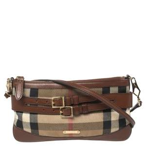 Burberry Brown/Beige House Check Fabric and Leather Crossbody Bag