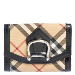 Burberry Beige/Black Nova Check Coated Canvas and Leather Compact Wallet