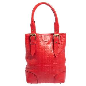 Burberry Red Embossed Leather Buckle Tote
