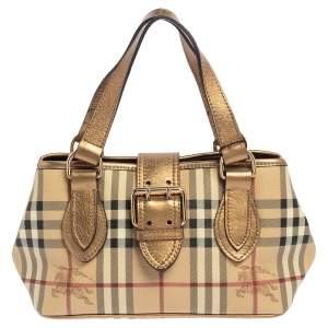 Burberry Beige/Gold Haymarket Check Coated Canvas and Leather Eden Tote