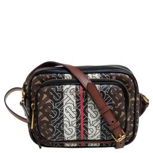 Burberry Multicolor TB-Print Coated Canvas and Leather Camera Crossbody Bag