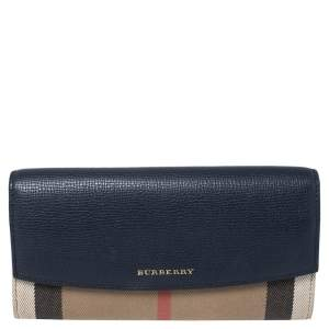 Burberry Beige/Blue House Check Fabric and Leather Flap Continental Wallet
