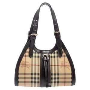Burberry Brown/Beige Haymarket PVC and Leather Kensington Baguette Bag