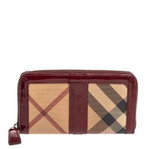 Burberry Red Patent Leather And Nova Check Coated Canvas Zip Around Wallets