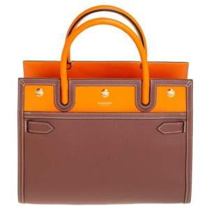 Burberry Brown/Orange Leather Medium Two-Handle Title Tote