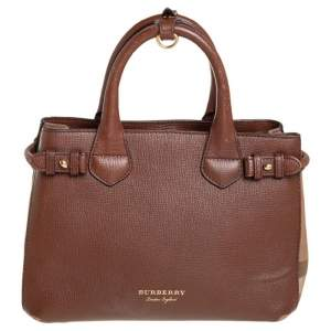 Burberry Brown/Beige Leather and House Check Fabric Small Banner Tote