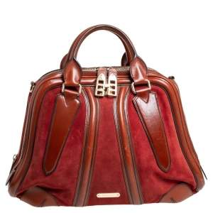 Burberry Brown Leather and Suede Shrimpton Satchel
