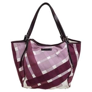 Burberry Purple/White Check Canvas and Leather Buckle Tote