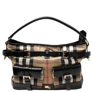 Burberry Black/Beige House Check Canvas and Leather Front Pocket Buckle Hobo