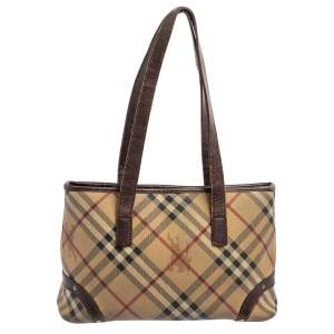 Burberry Beige/Brown Haymarket Check Coated Canvas and Leather Tote
