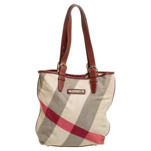 Burberry Beige House Check Canvas and Leather Trim Shopper Tote