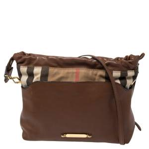Burberry Brown/Beige Leather and House Check Canvas and Leather Little Crush Shoulder Bag
