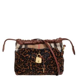 Burberry Brown/Black Leopard Print Calfhair, Leather and House Check Canvas Little Crush Crossbody Bag