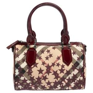 Burberry Burgundy/Beige Star Print Supernova Check Coated Canvas and Patent Leather Boston Bag