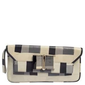 Emporio Armani Tricolor Check Leather Clutch