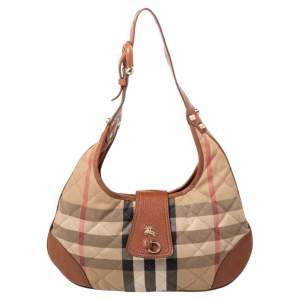Burberry Beige/Brown Haymarket Leather And Quilted Canvas Hobo