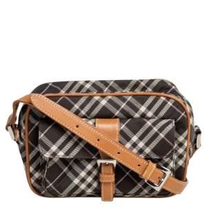 Burberry Blue Label Beige/Dark Brown Nova Check Canvas and Leather Front Pocket Crossbody Bag