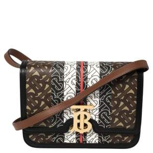 Burberry Multicolor TB-Print Coated Canvas and Leather Crossbody Bag