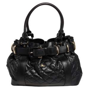 Burberry Black Quilted Leather Large Beaton Tote