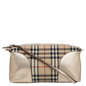 Burberry Gold Leather Horseferry Check Canvas Small Chichester Shoulder Bag