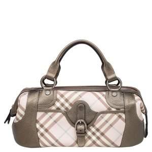 Burberry Pink/Metallic Nova Check PVC and Leather Buckle Bowler Bag