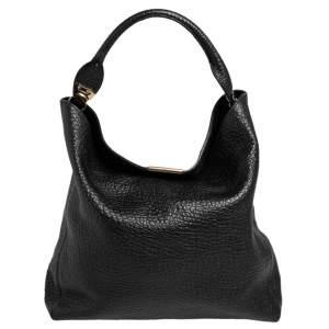 Burberry Black Grain Leather Lindburn Hobo