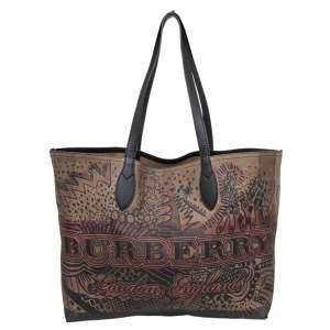 Burberry Brown Classic Canvas Medium Reversible Doodle Shopper Tote