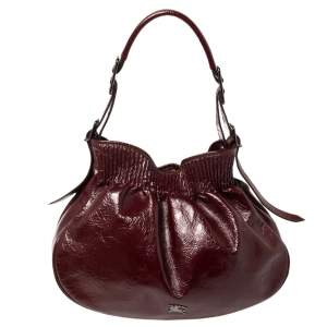 Burberry Burgundy Patent Leather Hobo