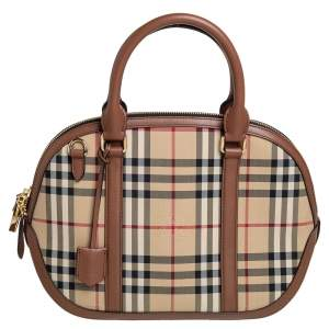 Burberry Beige/Brown Haymarket Check Nylon and Leather Small Orchard Bowler Bag