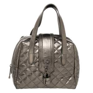 Burberry Metallic Grey Quilted Leather Satchel