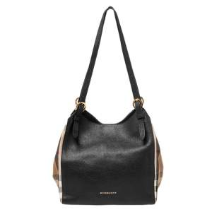 Burberry Black/Beige House Check Canvas and Leather Small Canterbury Tote