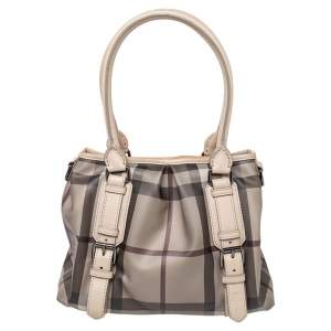 Burberry Beige Smoked Check Coated Canvas Small Northfield Tote