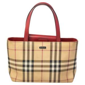 Burberry Beige/Red Nova Check Canvas and Leather Tote
