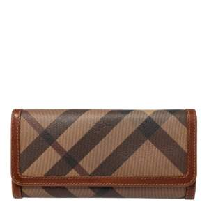 Burberry Beige/Brown Smoke Check PVC and Leather Flap Continental Wallet