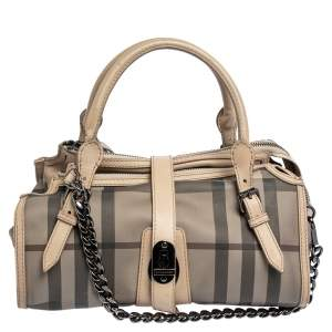 Burberry Multicolor Smoked Check PVC Chain Detail Bartow Bowling Bag