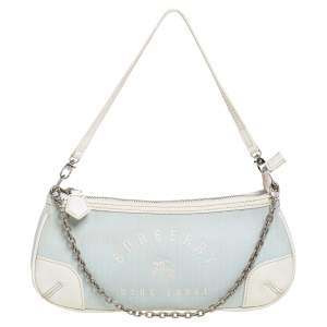 Burberry Powder Blue/White Brocade Fabric And Leather Pochette