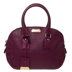Burberry Burgundy Leather Orchard Bowling Bag