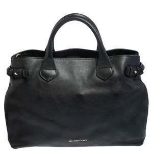 Burberry Black Leather And House Check Canvas Medium Banner Tote