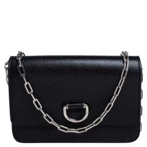 Burberry Black Leather Hayes D-Ring Chain Small Shoulder Bag