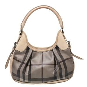 Burberry Beige Coated Canvas And Leather Small Brooklyn Hobo