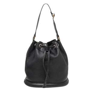 Burberry Black Leather Drawstring Bucket Bag