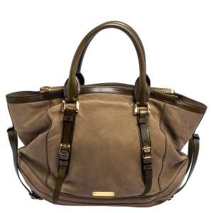Burberry Green Leather Zip Tote