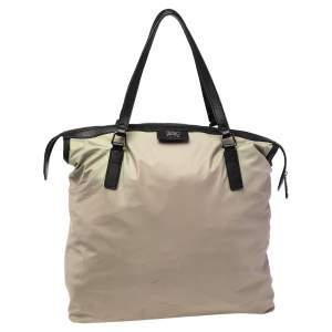 Burberry Pale Green/Black Nylon and Leather Buckland Tote
