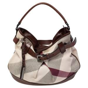 Burberry Brown/Off White Mega Check Canvas and Leather Buckle Hobo