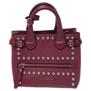 Burberry Magenta Leather and House Check Canvas Mini Banner Tote